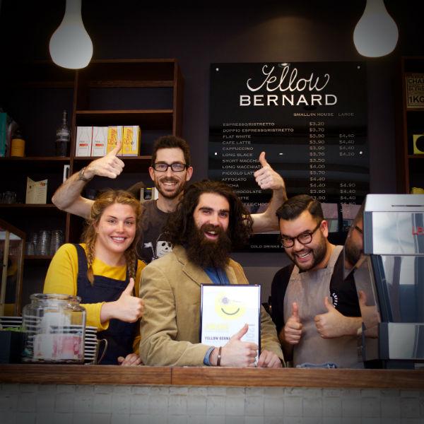 David and team at Yellow Bernard, Hobart, Top Fundraisers Award
